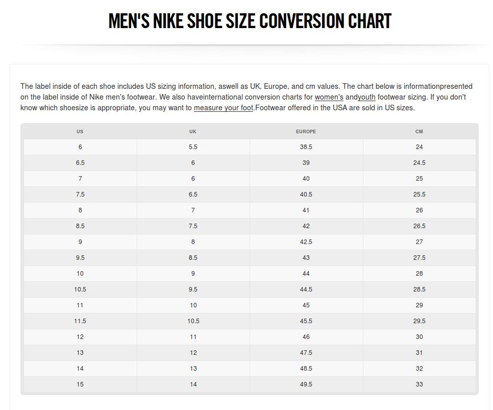 Nike EU size chart