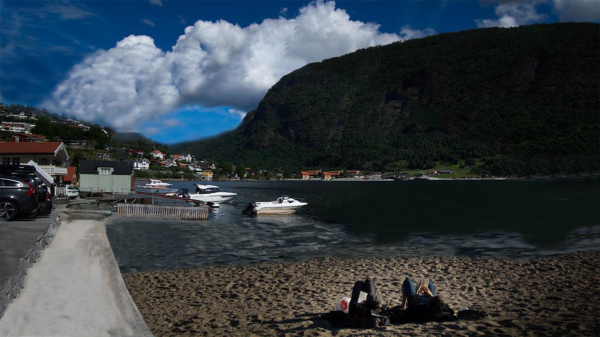 Dampskipskaien i Sogndal slik det kan sjå ut utan kaibygget (fotofikling).