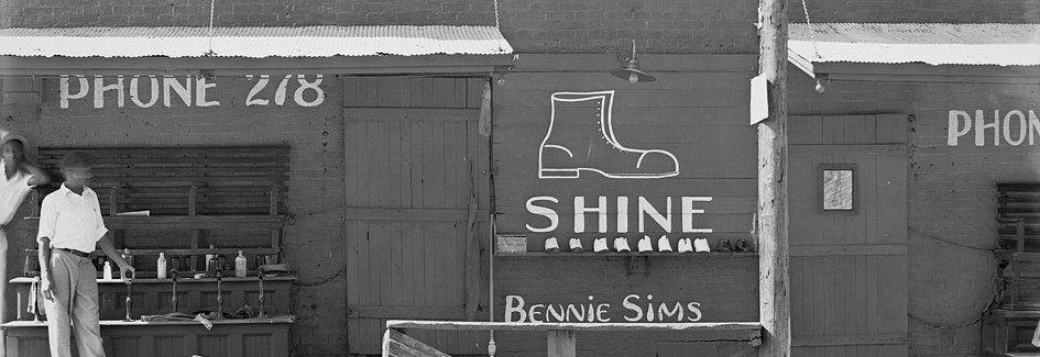 Shoeshine stand, Southeastern U.S. by Walker Evans,1936