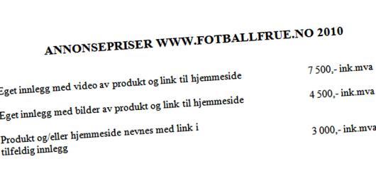 Prisliste for omtale på fotballfrue.no.