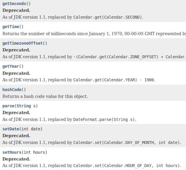 Deprecated methods in java.util.Date.