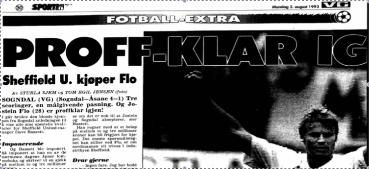 Faksimile VG 2.8.1993. Jostein Flo er klar for Sheffield United.